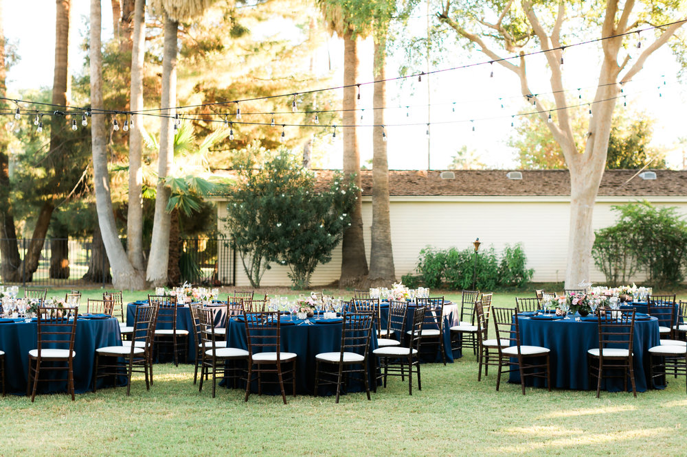 Private Estate Wedding in Phoenix - Reception with Navy Blue Linen