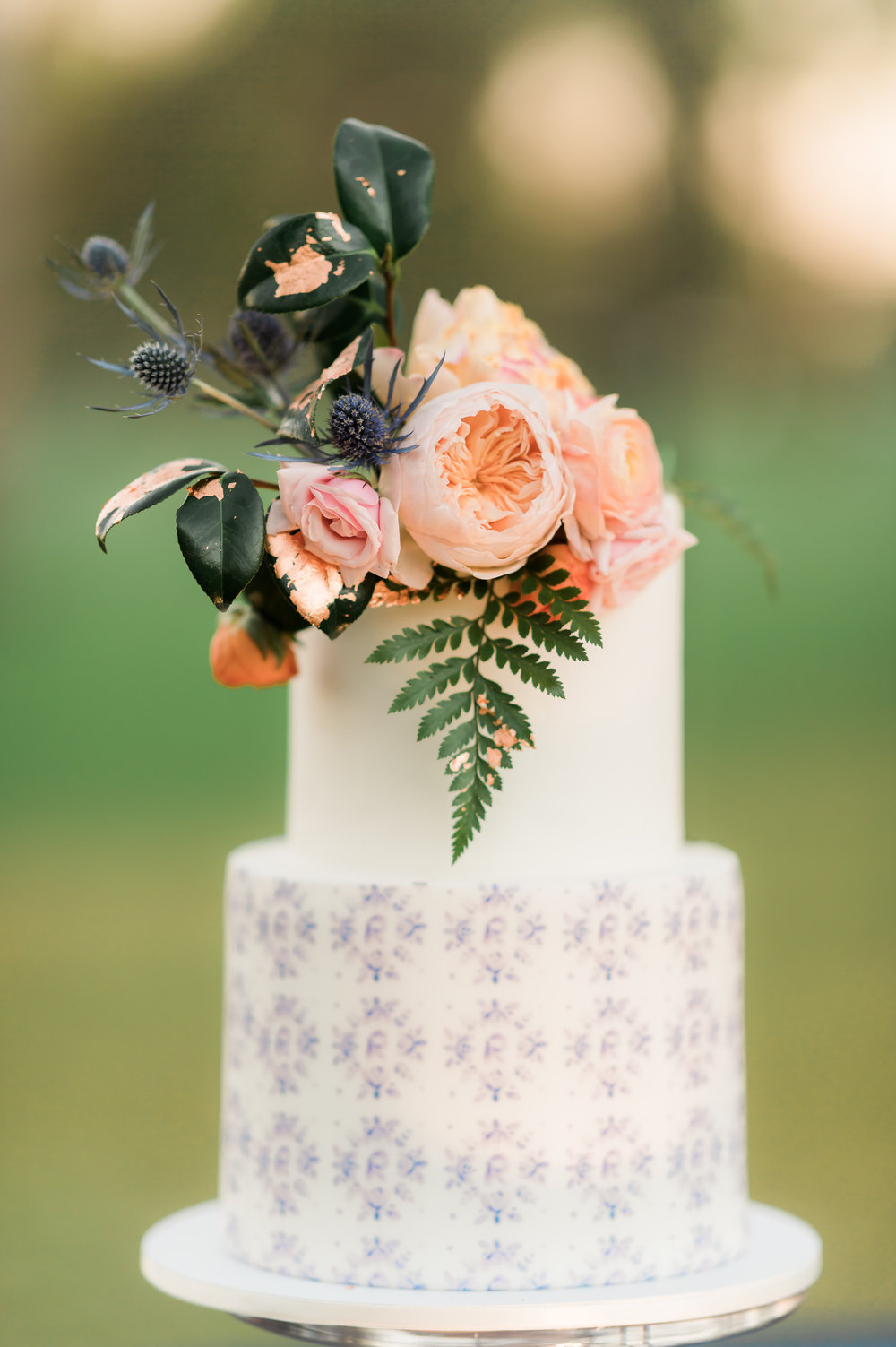 Private Estate Wedding in Phoenix - Ruze Cakehouse Cake with Custom Pattern and Form Floral Accents