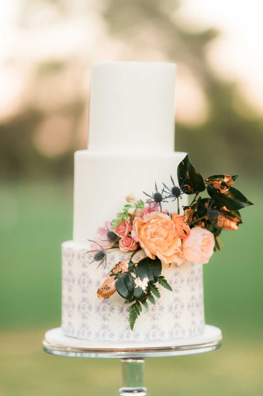 Private Estate Wedding in Phoenix - White Wedding Cake with Blush and Blue Floral Accents