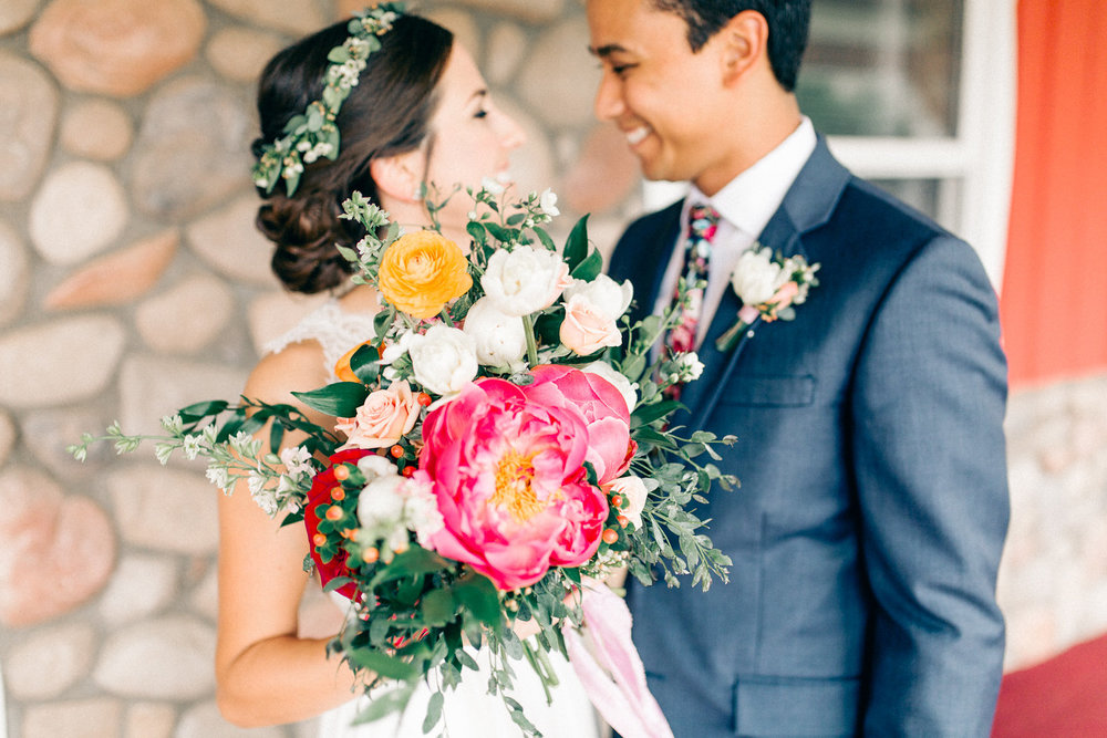 Colorful Cabin Wedding - Peony Bouquet - Form Floral Design