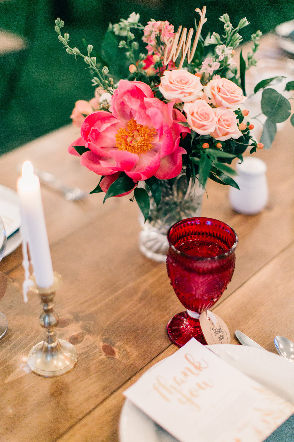 Colorful Cabin Wedding - Peony Centerpiece Inspiration