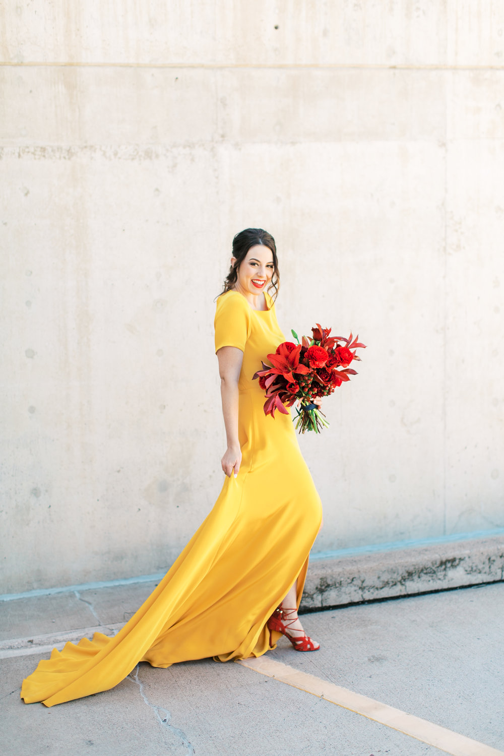 red and yellow wedding inspiration - red bouquet and yellow wedding dress