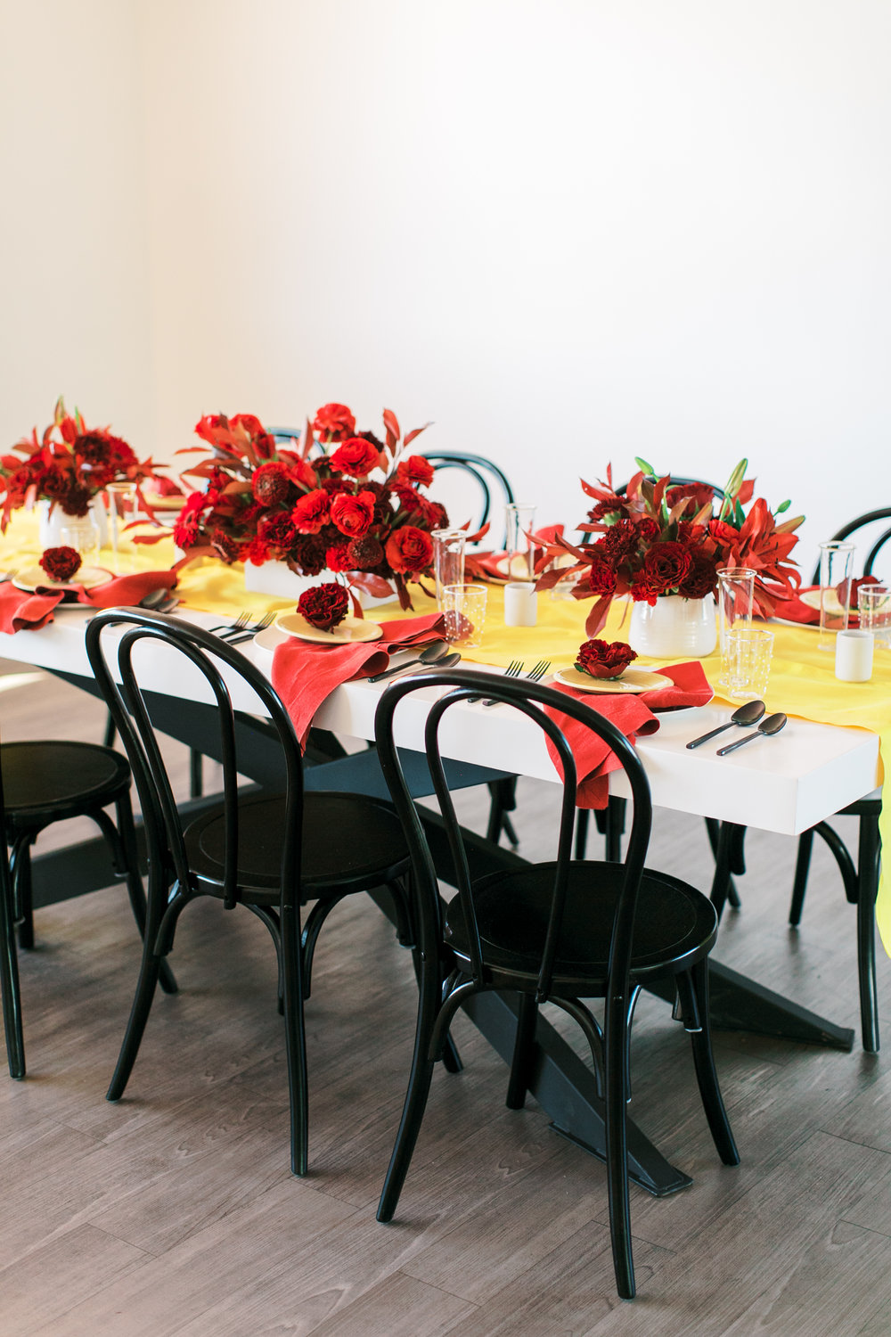 red and yellow wedding inspiration - modern black, white, red, and yellow table - reception inspiration - colorful wedding inspiration
