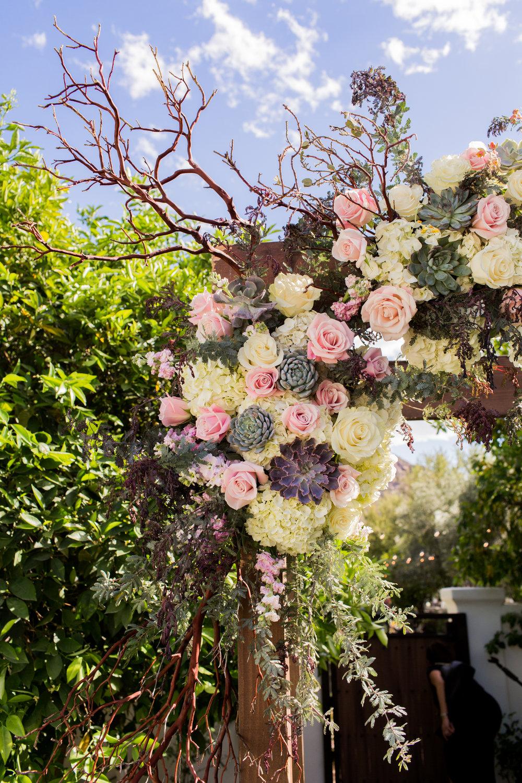 Chuppah Detail - Roses, succulents, hydrangea