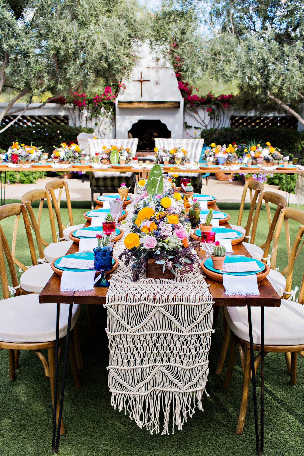 Fiesta Inspired Wedding Reception - El Chorro - Cactus Paddle Table Numbers
