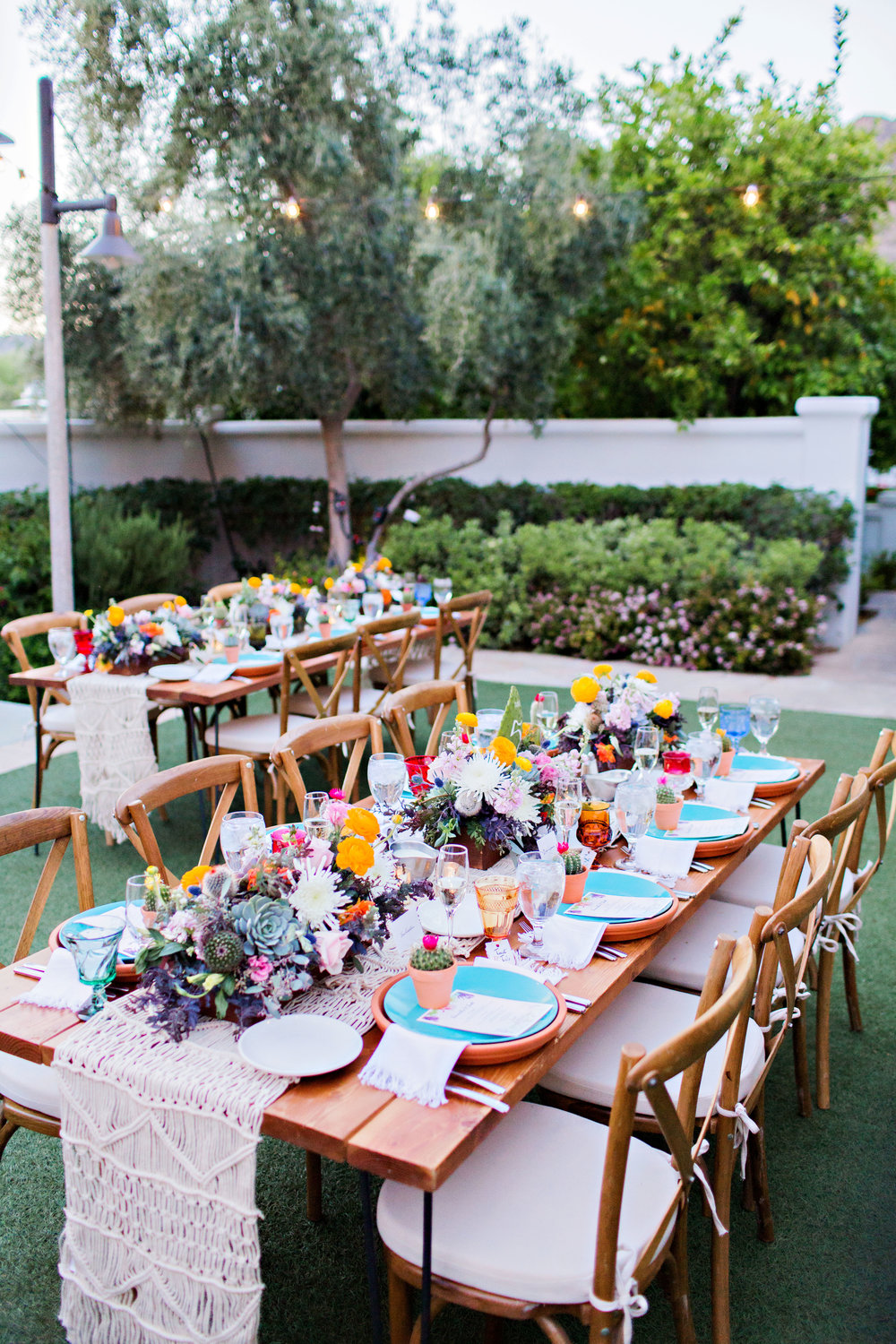 Fiesta Inspired Wedding Reception - El Chorro - macrame table runners - bright centerpieces