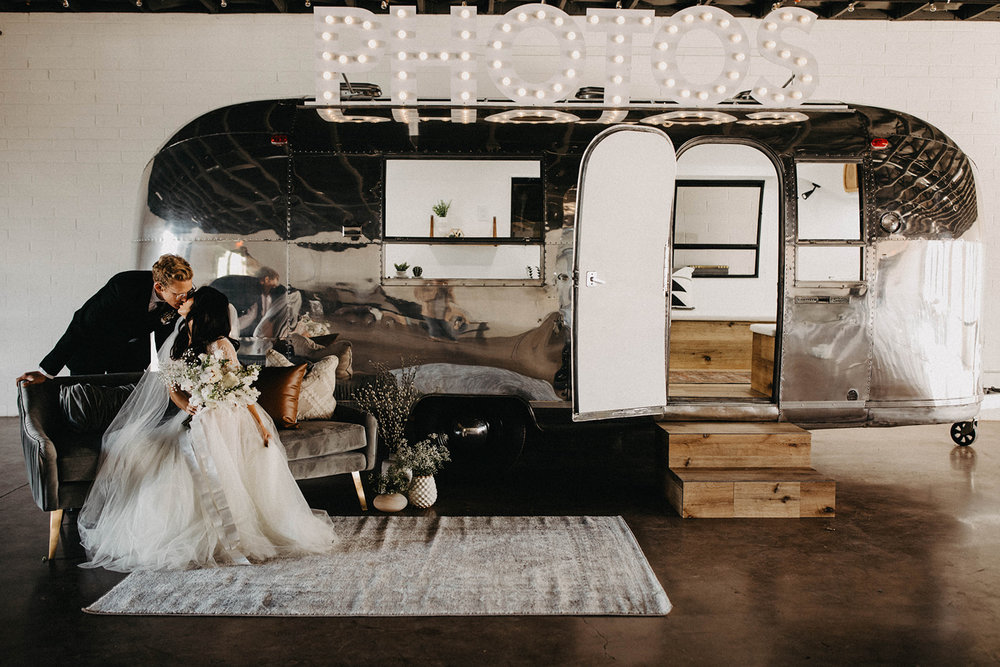 Modern Babies Breath Wedding Inspiration - Arizona florist Phoenix scottsdale Mesa chandler Sedona Prescott - Airstream Photo Booth Bus