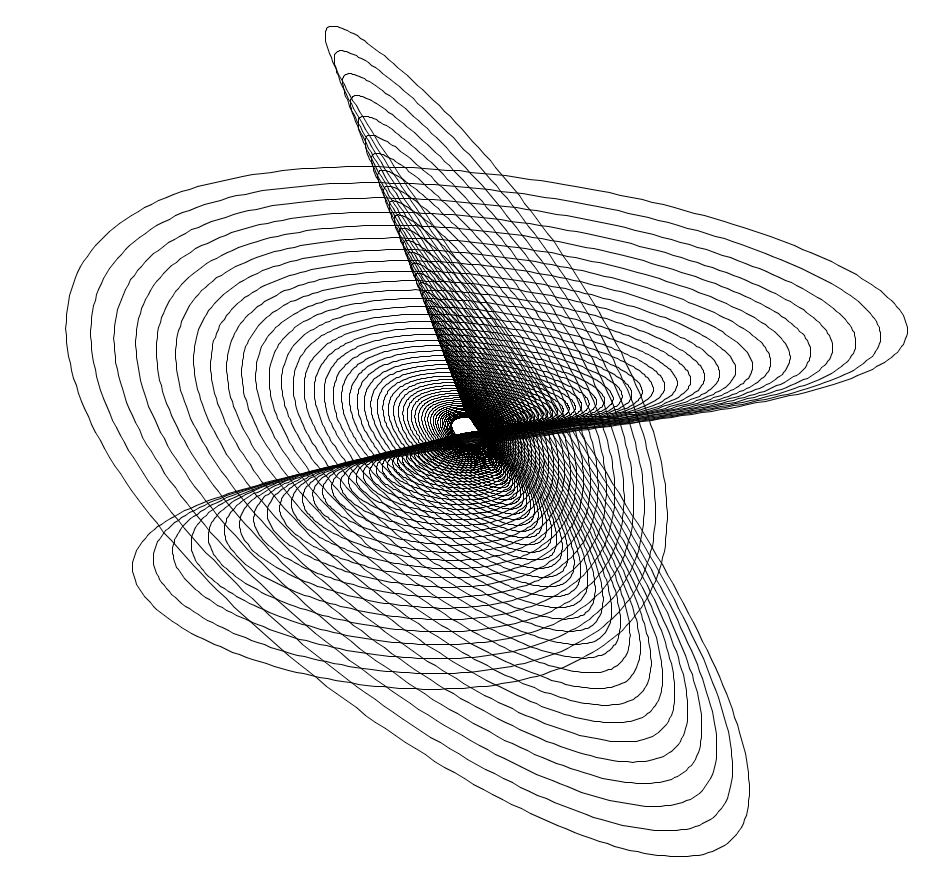 This design is created using oscillations (back and forth motion) and decay, modeling a pendulum (or two or three…) winding down.