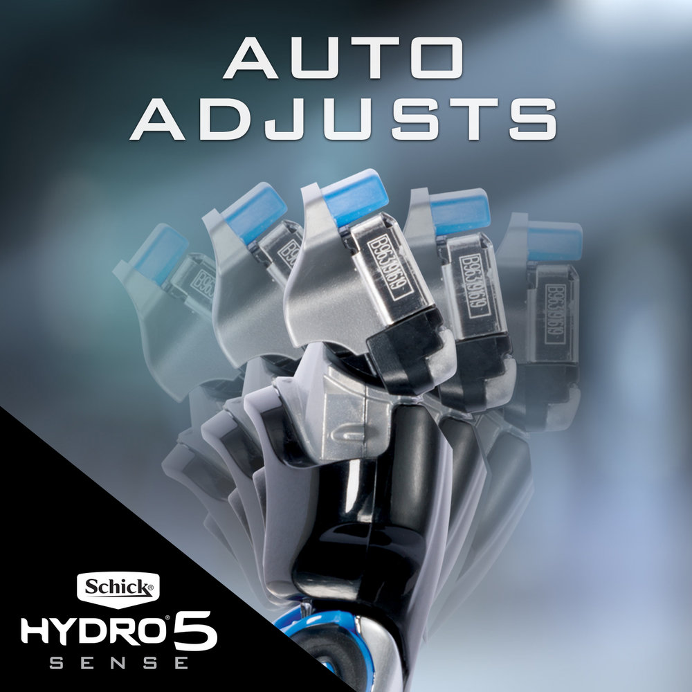 Auto-Adjusts To Your Face - Schick Hydro 5 Sense 'senses' when pressure is exerted on skin during shaving, backing off if you're applying too much pressure or adding back when you need it. Optional lock button lets you control the action.