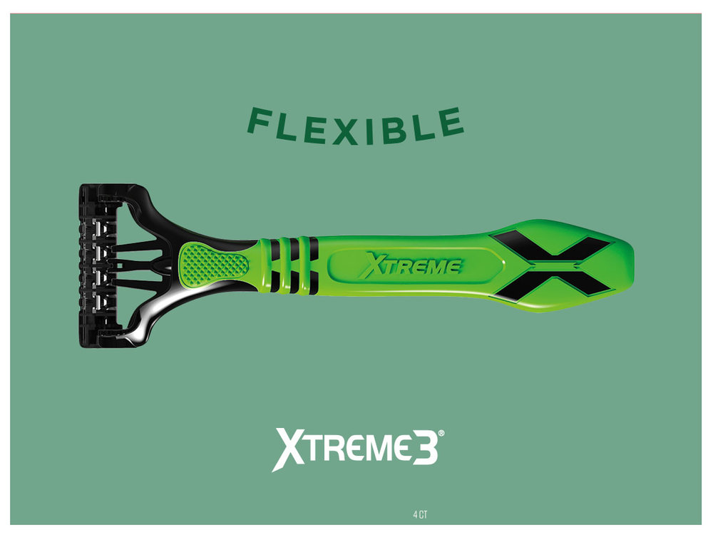 "-  Schick Xtreme 3 expands from the corner to ll frame. ""Flexible"" word bends."