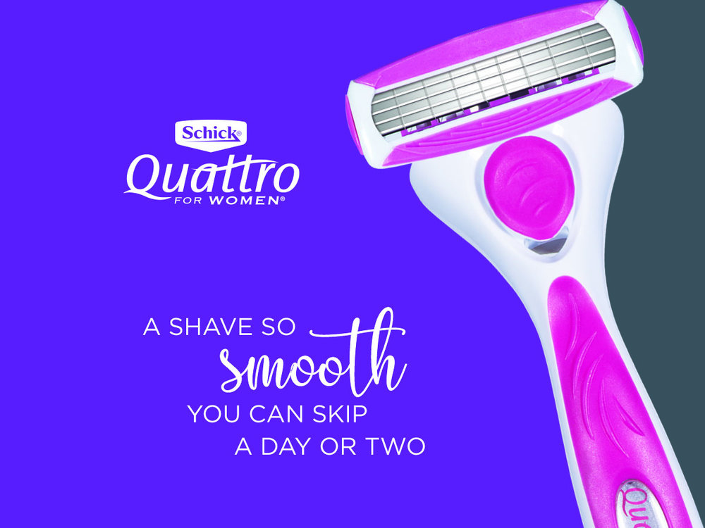 Frame 4 - Quattro for Women wipes in from right to left. Logo and text appear, then fade out.
