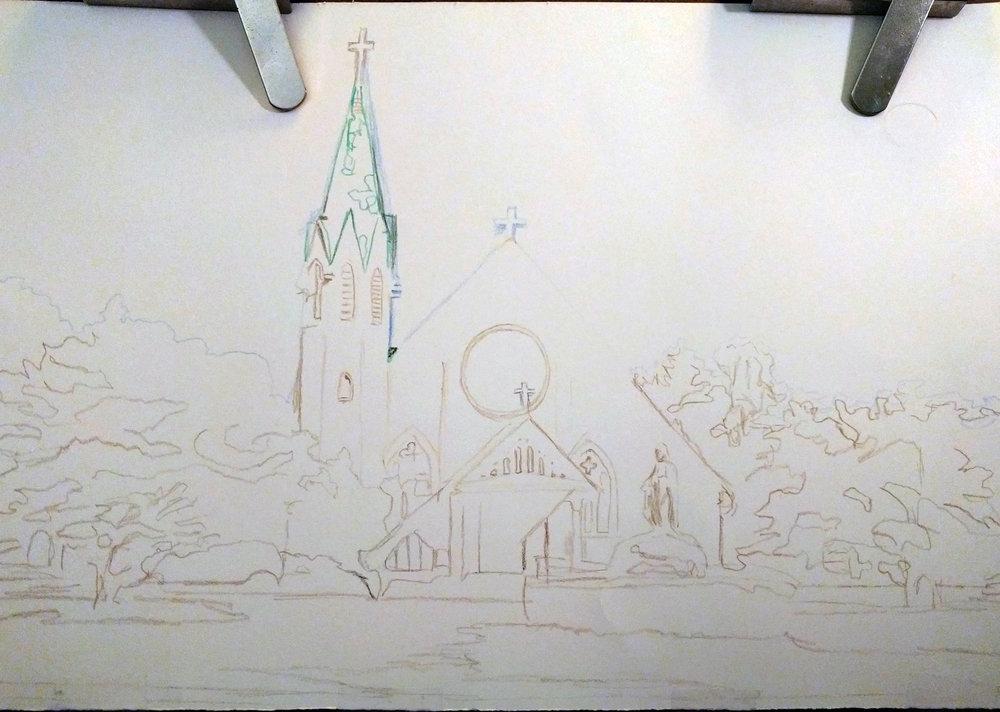 Under-drawing for Saint John's