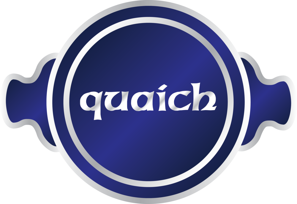 The Quaich is a traditional Scottish bowl characterized by two handles. I used the name and the shape of the Quaich to inspire the logo. This bowl, originally used for drinking scotch is now largely used for trophies and ceremonial awards, speaks to Scottish heritage and to quality.