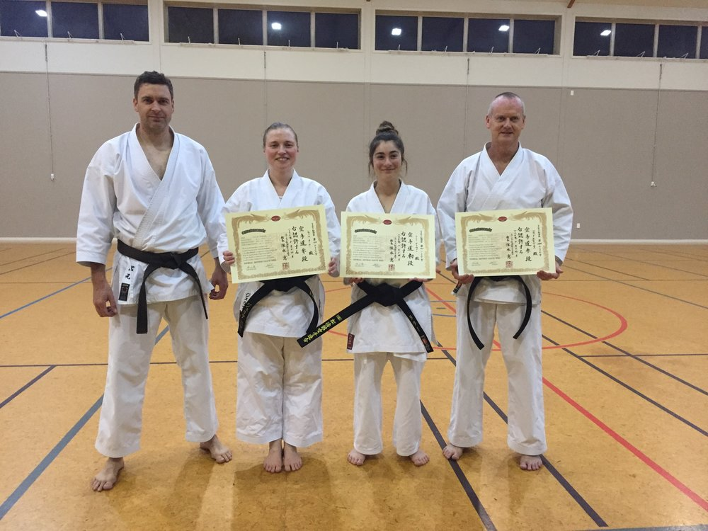 Presentation of Dan grade certificates back in New Zealand.  left to right; Morgan Dilks sensei, Julia Tanner sensei (3rd dan), Lily Griffin (shodan) and Brad Stevens sensei (3rd dan). Absent; Simon Tavendale sensei (3rd dan).
