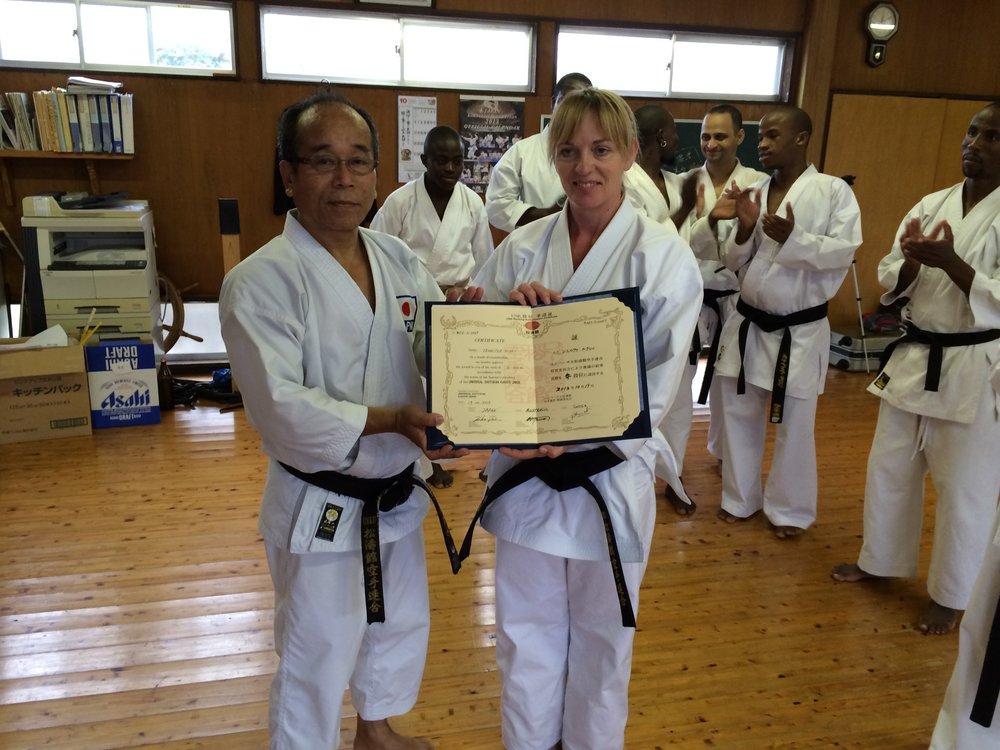 Jenny Nixey is awarded Sandan (third degree black belt) having successfully graded in Miyazaki, Japan.