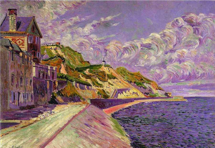 Puerto en Bessin (c.1884) de Paul Signac.jpg
