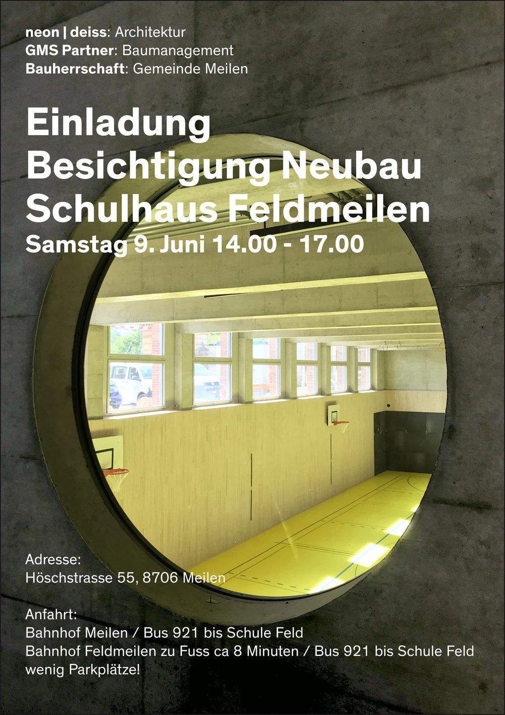 EinladungBesichtigung Neubau Schulhaus Feldmeilen - Samtag 9. Juni 14:00-17:00