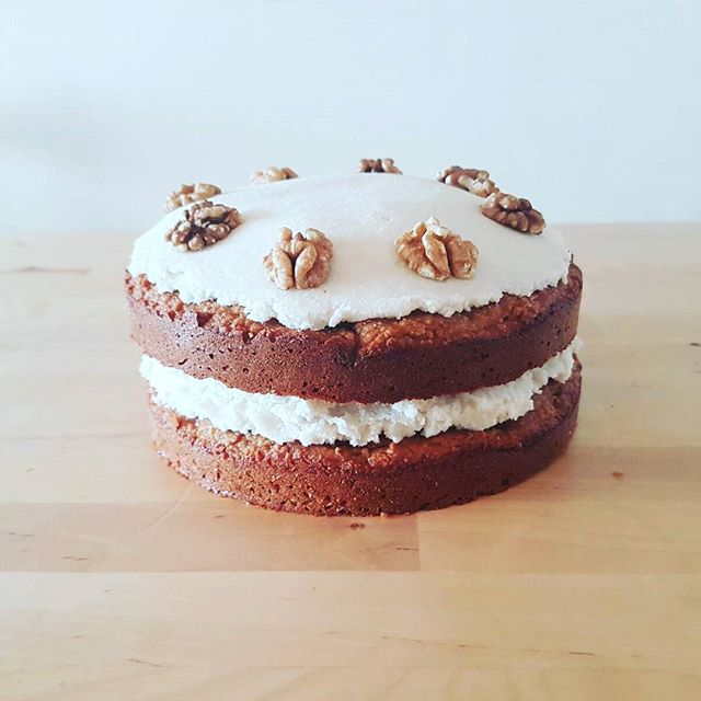 Happy birthday! We made this spiced carrot cake with coconut frosting for a 21st birthday. Want one? Just drop us a line. :) #glutenfree #dairyfree #refinedsugarfree #paleo #cake #birthdaycake #eatclean #cleaneating #carrotcake