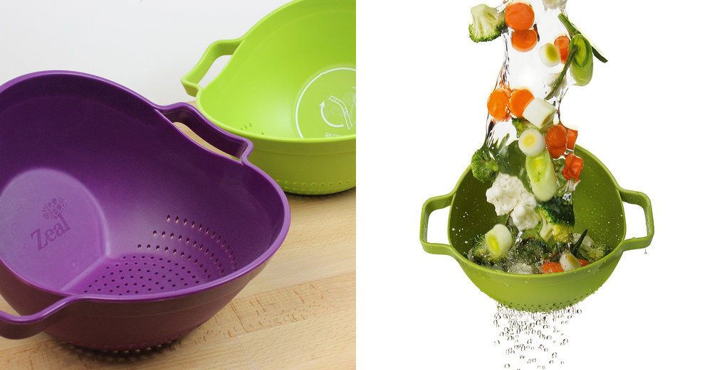 CKS Control range - Rock and Roll colander - photography - in use - vegetables - water - draining - green - purple