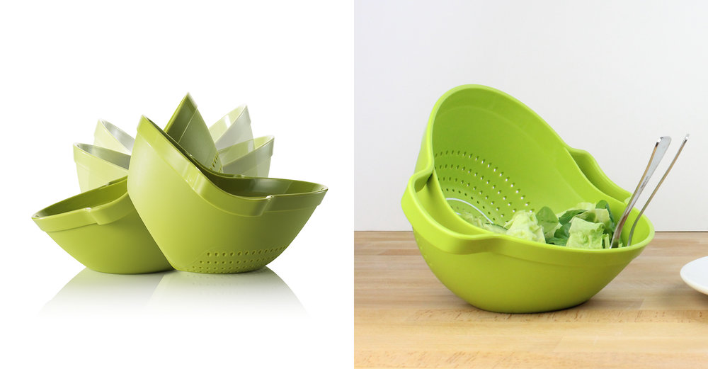 CKS Control range - Rock and Roll colander - photography - in use - vegetables - water - draining - green - tilting - served
