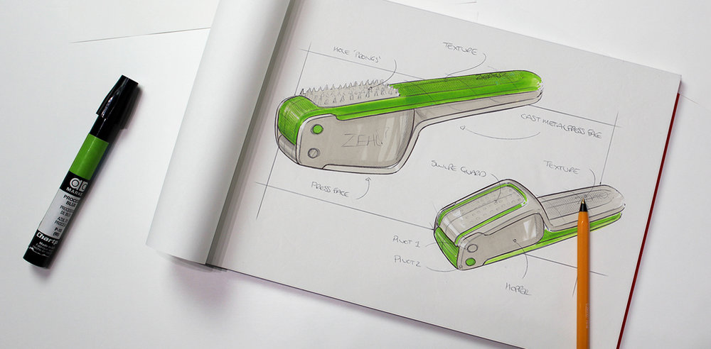 Zeal Garlic press |Sketching initial concept