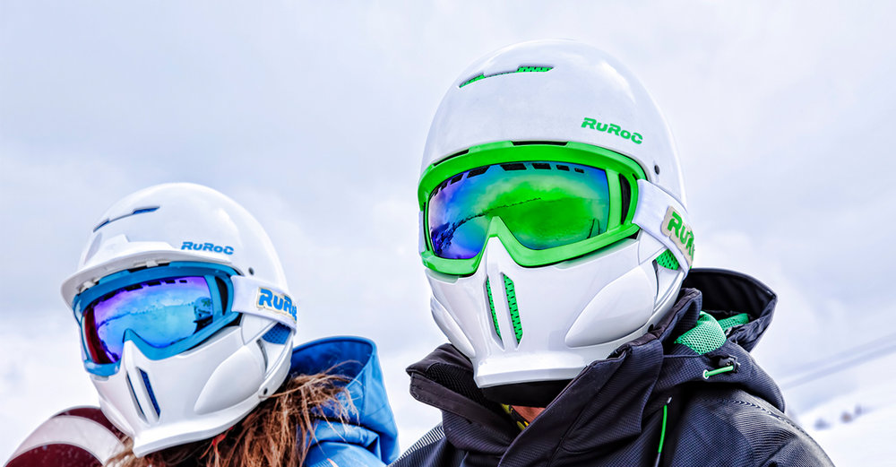 Ruroc - RG1 - Curventa - helmet - snow - snowboarding - sports - overview - white - blue - green