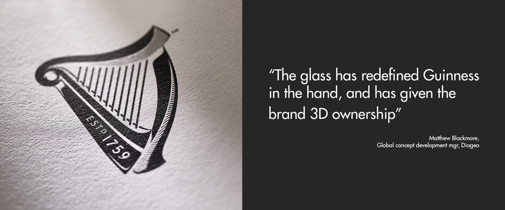 Guinness - guinness logo - Matthew Blackmore - Diageo - The glass has redefined guiness in the hand, and has given the brand 3D ownership