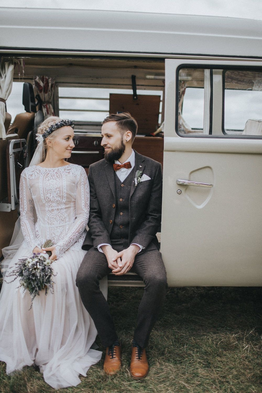 Bohemian bride, in camper van wearing Katya Katya