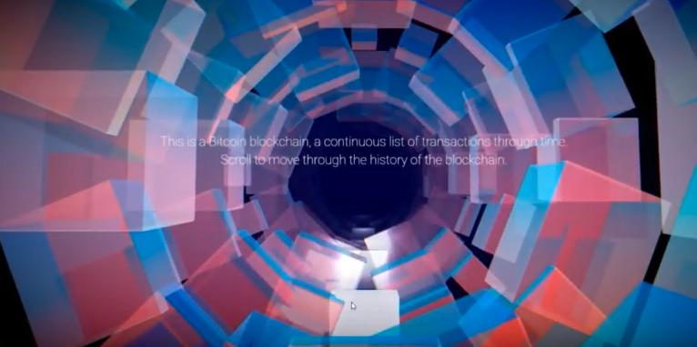 """Eine beeindruckende Visualisierung der Bitcoin Blockchain als Video.  Die """"Live Version"""" finden Sie über die Website von  IOHK."""