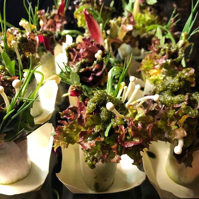 Garden of Eden canapés for @edenfineart these beautiful salad bites look great and taste even better.....filled with spicy mayo and dressed with lime and coriander vinaigrette. #event #events #canapé #canapes #gardenofeden