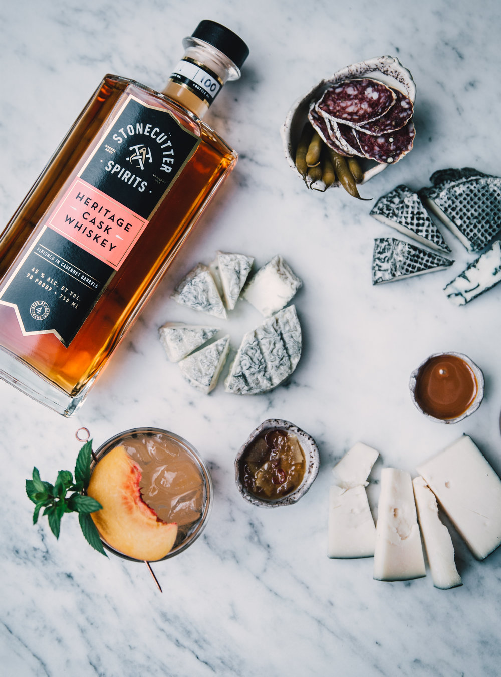 Stonecutter Spirits Vermont Distillery Heritage Cask Whiskey with Cheese