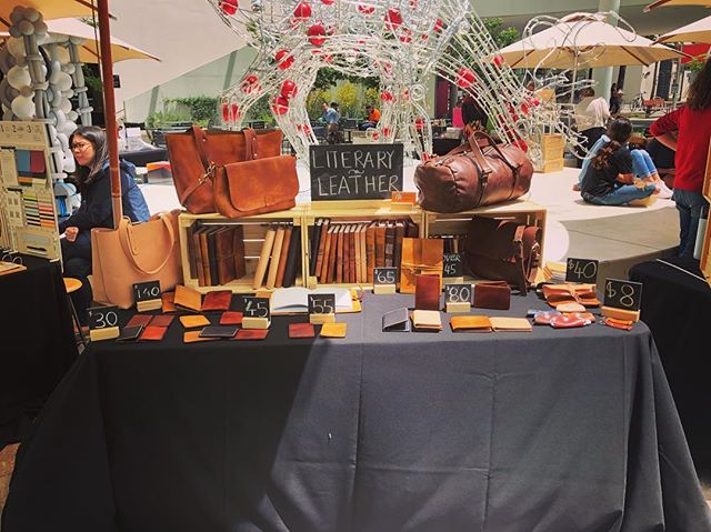 We're all set up at the QV1 markets in Perth, and we're here until 3! We'll also be here tomorrow and on Thursday, between 11 and 3, so come down on your lunch break and say hi! • • • • #leather #leathercraft #journal #notebook #diary #sketchbook #leatherbook #travel #adventure #duffelbag #wallet #leatherwallet #travelbag #totebag #handbag #purse #artisan #handmade #perth