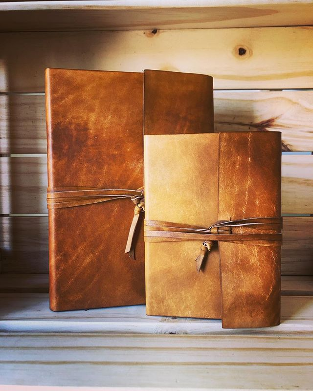 A pair of wraparound journals in whiskey. • • • • #leathercraft #leather #journal #sketchbook #notebook #diary #bulletjournal #bujo #artisan #handmade #rustic #travel #adventure #outdoors #writing #sketching #artist