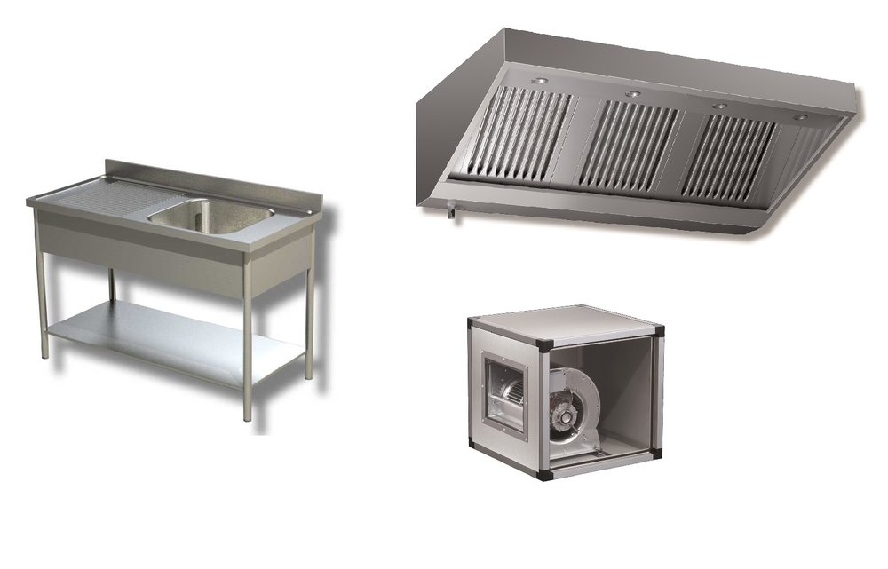 Neutres et VentilationHottes, caissons, tables, plonges etc. -