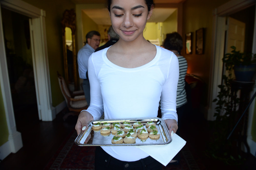 Parmesan shortbreads with goats cheese and pesto served by Lizzie Mendez.