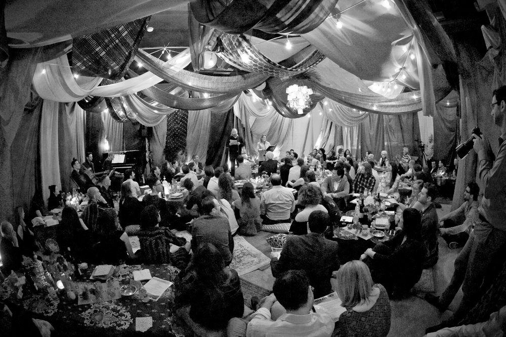 Large group, fully produced bedouin tent dinner for secret seder.