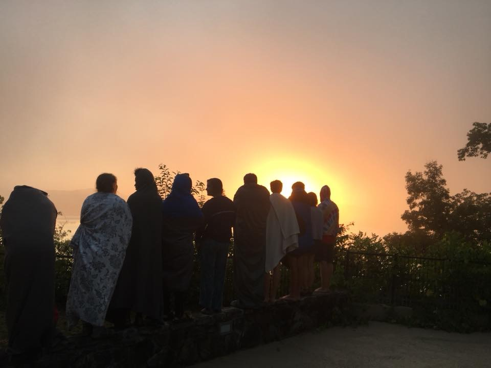 Sunrise from the retreat house porch at the youth summer session sleep out. summer 2018.