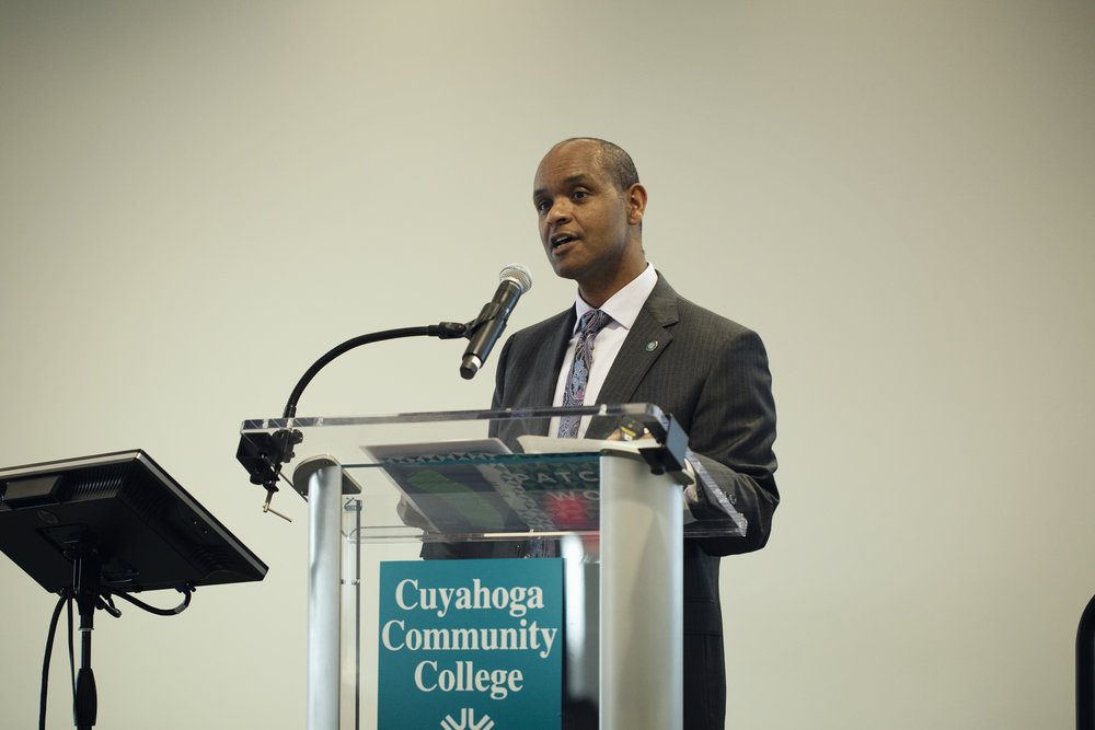 Dr. Michael Schoop, President of Tri-C's Metro Campus, delivering the keynote speech.