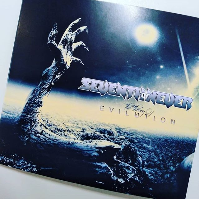 It is finally here. Our debut release on CD. Check out 'The Theory of Evilution' at www.seventhofneverband.com Order yours today and it'll hit the mail tomorrow. #seventhofnever #originalmusic #stlmusicscene #metal #rock #guitars #harmonyvocals