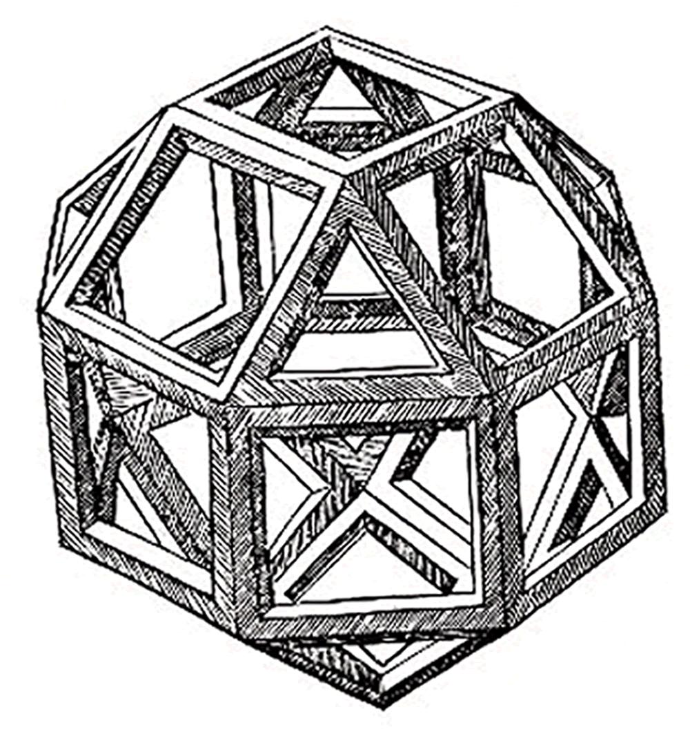 Dessin d'un petit rhombicuboctaèdre par Léonard de Vinci dans la Divine Proportion de Luca Pacioli, 1509.  Et si on offrait à notre vie plus de facettes qu'il n'y paraît ?