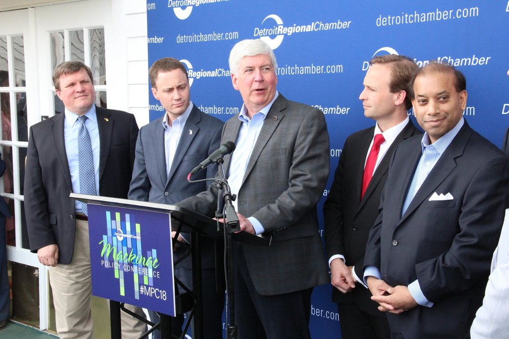 Gov. Rick Snyder delivers a press conference on the Soo Locks at the 2018 Mackinac Policy Conference