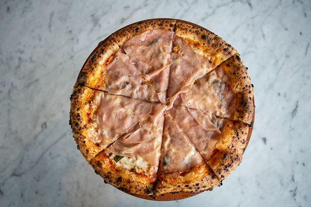 Mortadella Pizza with mozzarella, marscapone, pistachio and basil? Yes, please!