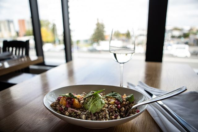 Our Super Salad is packed with nutrition - hazelnut vinaigrette, quinoa, sprouted mung beans, orange, pomegranate seed, cucumber, pickled shallot, avocado, toasted hazelnuts, mint and extra virgin olive oil.