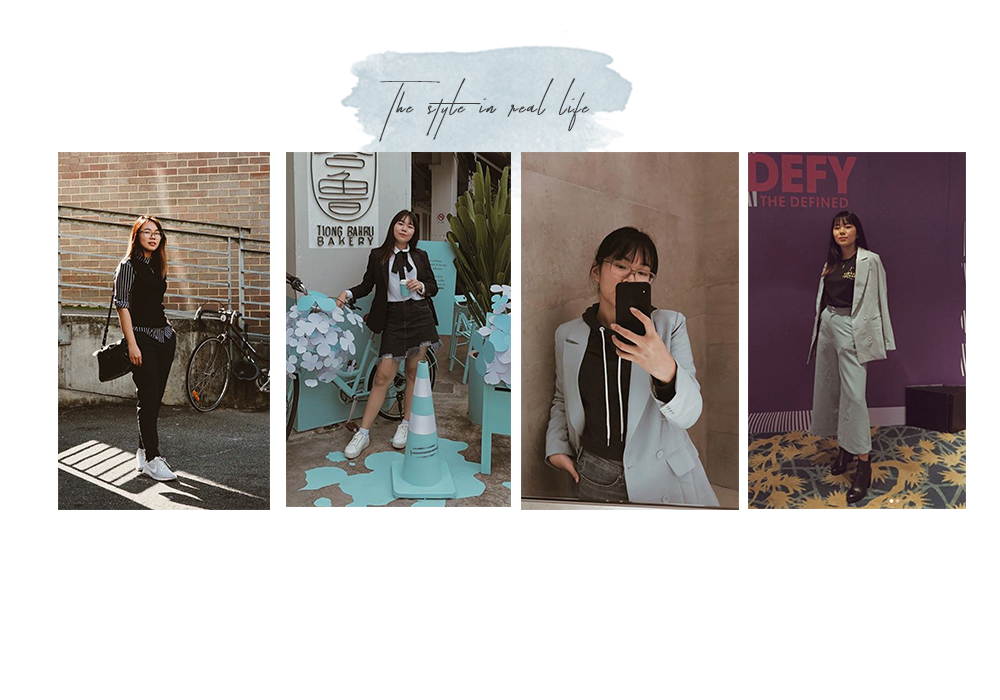 Pictured here ^ are photos of my outfits I happened to snap on Insta to show you how my style looks like in real life.