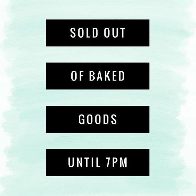 It's been a busy day here at the shop. You guys have completely bought us out of every baked good! 😳We are making more. They will be ready at 7pm. Until then, we have shaved ice, hot chocolate, sodas, teas, and marshmallows.