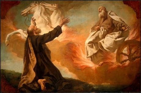 Elisha watches as God sends down a Chariot of Fire to bring Elijah up to heaven