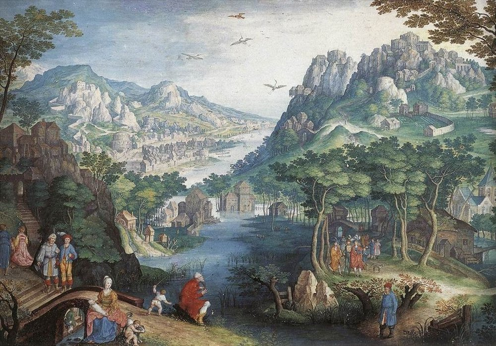 Mountain landscape with river valley and the prophet Hosea by Gillis van CONINXLOO