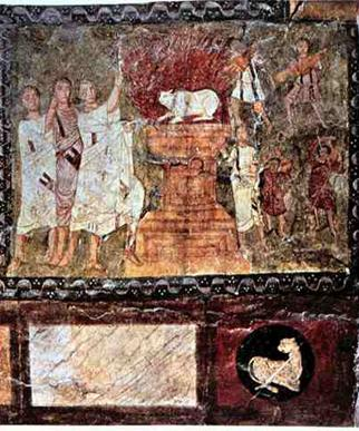 A scene depicting the Israelite King Ahab & Queen Jezebel taken from the walls of the ancient Duro-Europus Synagogue in Syria