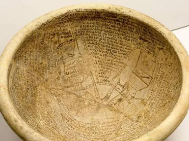 Photo of a Babylonian Incantation Bowl by: Ardon Barhama