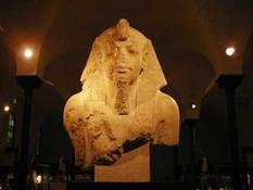 A statue of an Egyptian Pharaoh